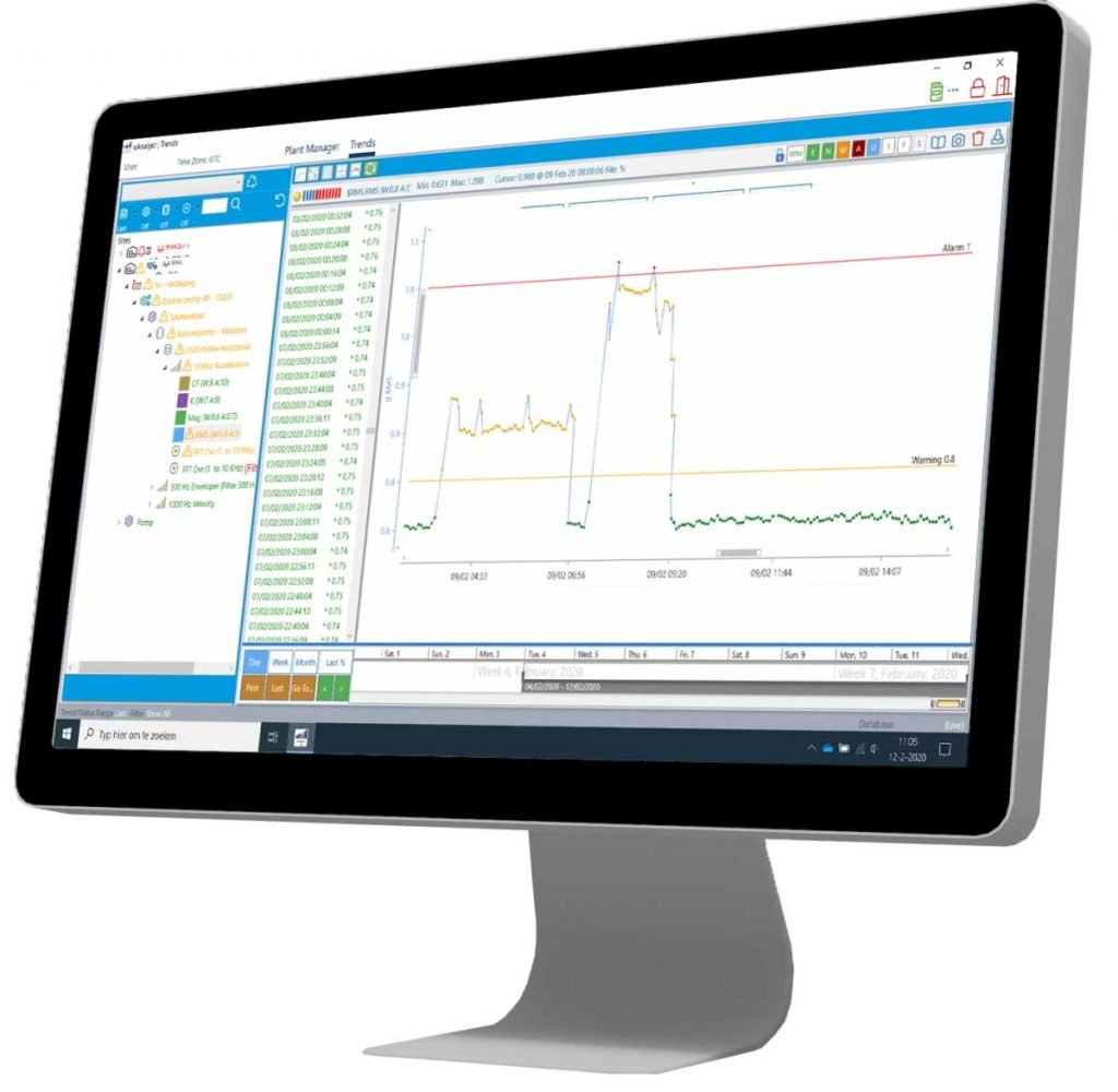 uAnalyst desktop screen with vibration measurement